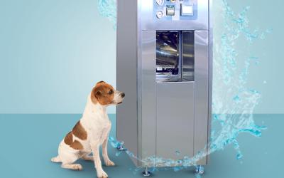 Esterilização e resfriamento da carga por spray de água para alimentos PET